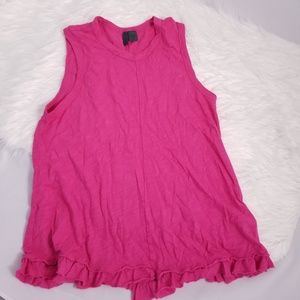 Left of center anthroplogie pink ruffle tank